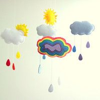 Rainbow Cloud Felt Baby Mobile