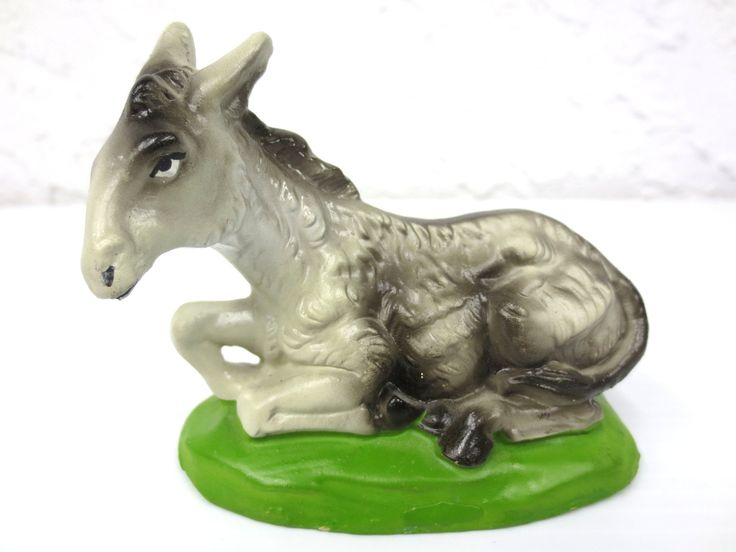 "Vintage Manger Creche Donkey Animal Figurine 3 1/2"", Paper Mache Italy Christmas"