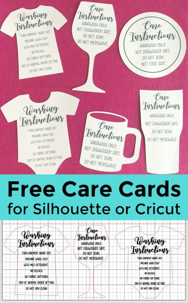 Free Shaped Printable Care Cards for Your Silhouette or Cricut Business - Cameo, Portrait, Explore, Maker - http://cuttingforbusiness.com/2018/01/10/free-printable-care-cards-silhouette-cricut/