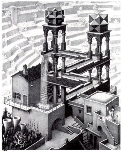This is my favourite of all Escher's work. Mainly because of the level of detail involved, along with the contrast in the image between the black and white sections. I also find, that the illusion of how one section you can see a normal tower structure with water flowing. Then when you look properly, you can see that in fact it is on the same level, as each section is hidden behind each other. On my wall........