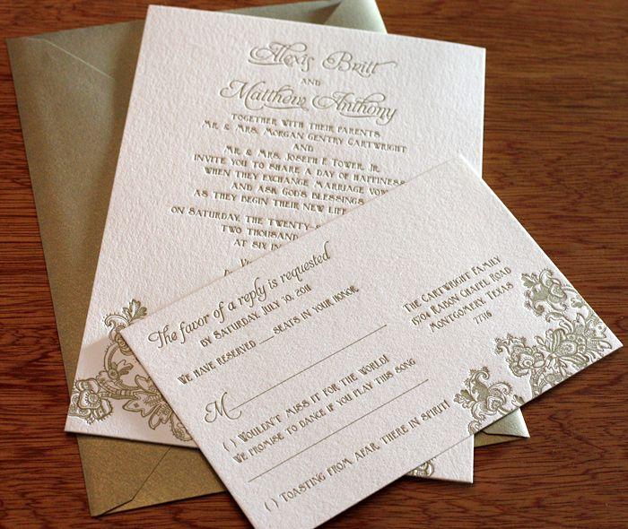 Lace Letterpress Wedding Invitation Design With Shimmering Gold Envelope,  Stunning!