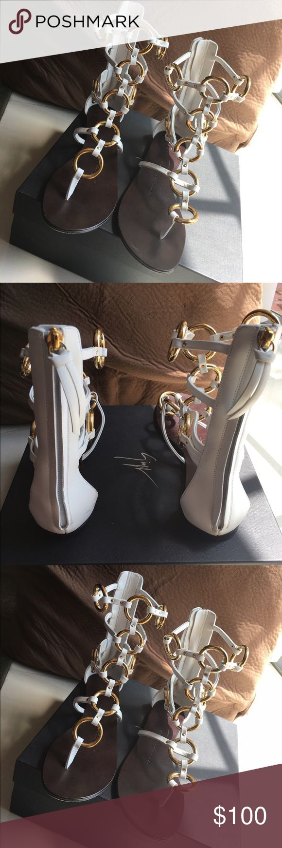 Giuseppe Zanotti: Gladiator Sandal White . Gently worn / with box and bag . Perfect for spring and summer . Final sale / no Trade no return . Giuseppe Zanotti Shoes Sandals