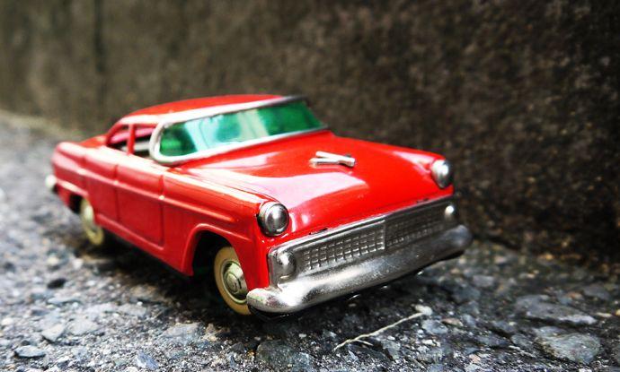 1955 旭玩具製作所製 真っ赤なセダン 外箱付き
