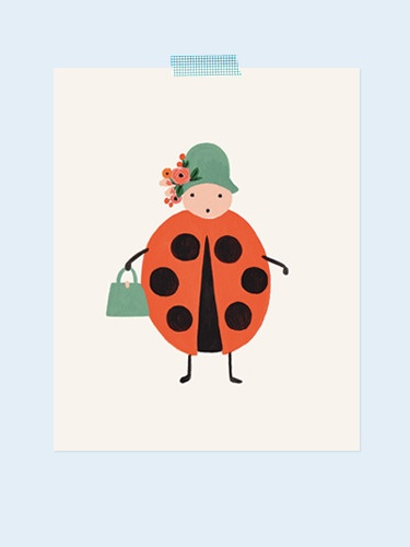 Lady bug print from Rifle Paper Co. Each print is archival printed on off-white paper.