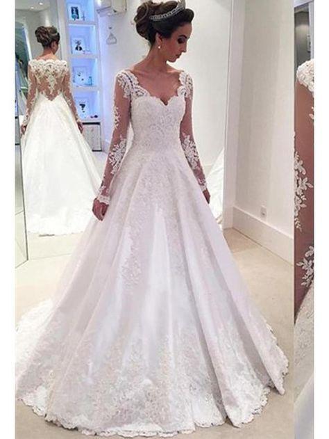 41baab2dfaa Long Sleeve A Line Lace Wedding Dress See Through Back Wedding Dress  AWD1002 in 2019