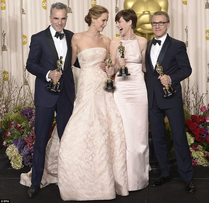 """Just a great photo! """"We did it guys! Daniel Day-Lewis holds his Oscar for Best Actor, Jennifer Lawrence and Anne Hathaway hold their Oscars for Best Actress and Best Supporting Actress respectively and Austrian actor Christophe Waltz holds his Oscar for Best Supporting Actor"""" ~2013"""