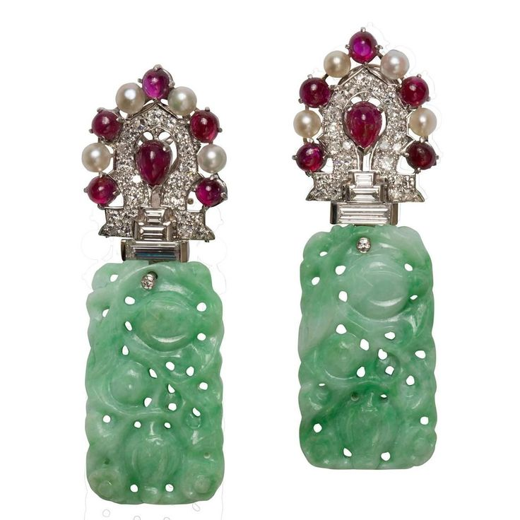 Art Deco Jade Pearl Ruby Diamond Platinum Earrings | From a unique collection of vintage more earrings at https://www.1stdibs.com/jewelry/earrings/more-earrings/