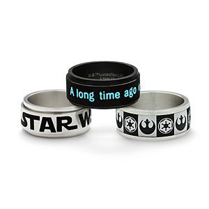 Star Wars Stainless Steel Rings | ThinkGeek Contemplating getting one of these for the hubby as a Valentine's Day gift...