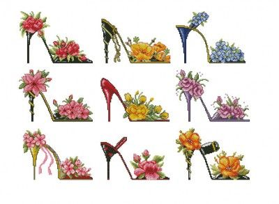 Flower shoes | Cross Stitching Pattern