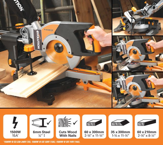The Evolution RAGE3-S300 Multipurpose 210mm Sliding Mitre  - Saw - cuts wood and aluminium with one blade