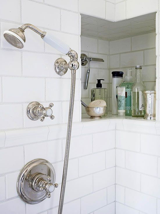A recessed tile-lined niche in the bathroom shower provides storage that doesn't get in your way but is easy to reach.