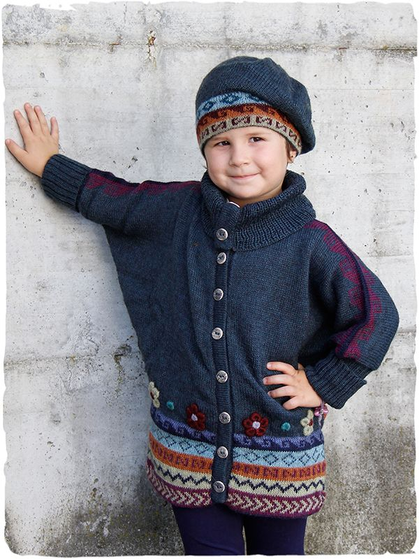 Shakira ethnic cardi  Original knit #cardigan for #baby girl with bat wing sleeves - beautiful ceramic buttons - geometric ethnic patterns and embroidered flowers - See more at: http://www.lamamita.co.uk/en-US/store/winter-clothing/1/childrens-sweaters/shakira-ethnic-cardi#sthash.kydV2BSZ.dpuf #wool #sweater for girls
