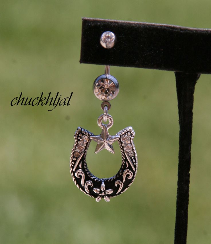 Texas Size Horse Shoe DeSIGNeR Belly Button Ring Simple Cute Blingy Rodeo Rhinestone Cowgirl. $22.00, via Etsy.