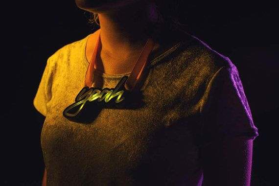 YEAH Light Up Necklace. Fairground Sign LED by designosaurYEAH