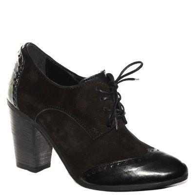 #Scarpa francesina #Khrio in camoscio e pelle nera con tacco medio http://www.tentazioneshop.it/scarpe-khrio/francesina-24791-nero-khrio.html