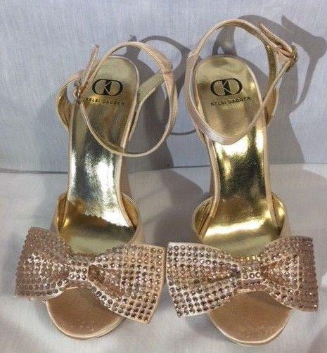 Kelsi Dagger Gold Wedge Heels With Bows Size 9 #KelsiDagger #PlatformsWedges