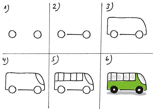 Bus Zeichnen Kinder Zeichnungen Zeichnen Lernen Fur Kinder Kinder Zeichnen