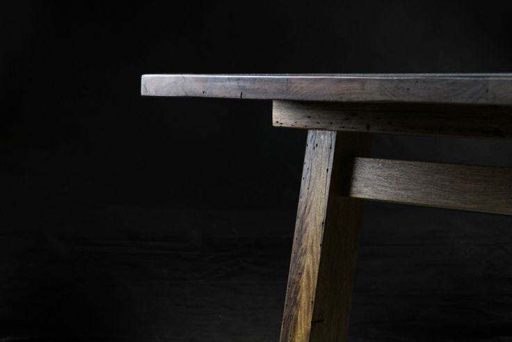 This reclaimed timber table is built from gnarly old hardwood joists from the Elephant & Wheelbarrow pub in Fortitude Valley.  It features a sliding dovetail joint that connects the base to the top. It allows for seasonal movement of the boards as they expand & contract through the year, keeps the top flat & is a striking expressed detail. #makimakifurniture #makimaki #brisbanemade #makimakihandmade #makimakidiningtable #reclaimedtimber