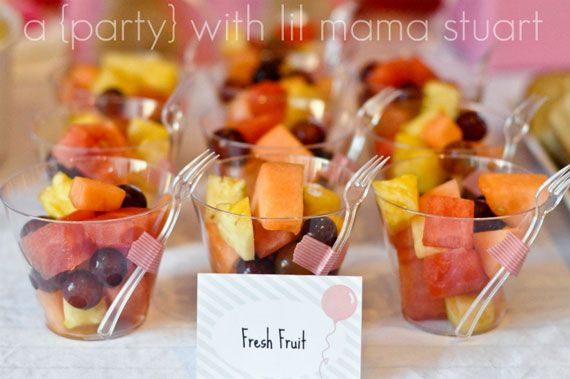 Cute fruit cup idea with fork! Just saw mini colored forks at Targets party section! Perfect!