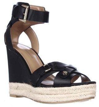 Tommy Hilfiger Velvet Espadrille Wedge Sandals, Black.
