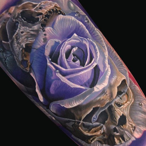3D Skull and flower - 100 Awesome Skull Tattoo Designs  <3 <3