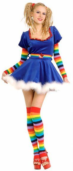 Your favorite 80's cartoon cutie returns to life in this adorably sexy 80's Rainbow Girl costume! Includes blue mini dress with long rainbow striped sleeves and belt, marabou trim and matching rainbow striped thigh high stockings.