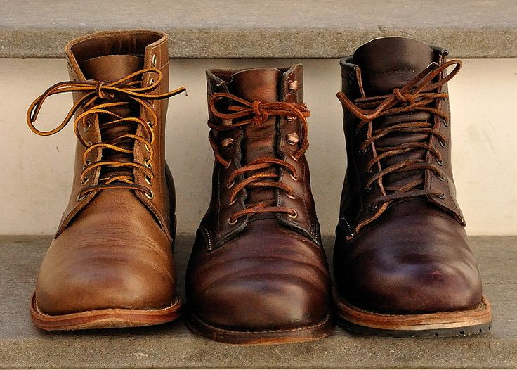 Oak Street Trench Boot in Natural CXL, Wolverine 1K Mile in Brown CXL, Red Wing 9011 GT/Beckman in Black Cherry