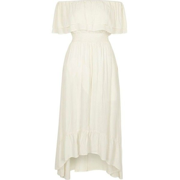 River Island Cream frill bardot maxi dress ($64) ❤ liked on Polyvore featuring dresses, maxi dress, cream, women, white maxi dress, cream dress, cream maxi dresses and white ruffle dress