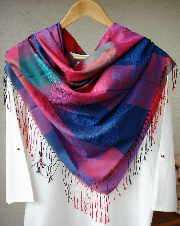 Blue and Purple Plaid Pashmina Scarf, Multicolored Scarf, Silky jacquard scarf, Fall- Spring scarf, infinity scarf, Gypsy Wrap by fourseasonsscarf on Etsy