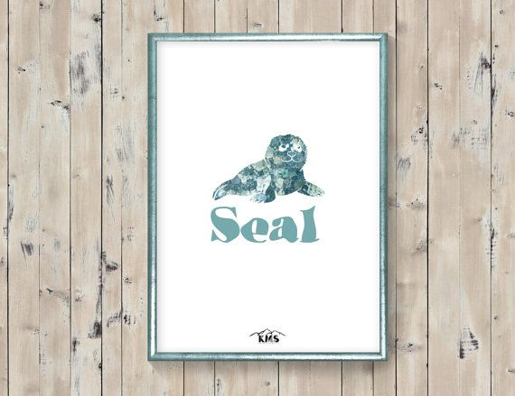 Seal baby animal printable. Blue surf by KeepMakingSmiles on Etsy