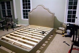Tutorial for an awesome upholstered headboard AND bed frame.    We have a headboard we like very much now. But I think that @Katie Hrubec Shay needs to take a look at this.