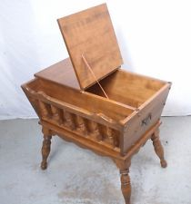 Vintage Ethan Allen Maple/Birch Magazine End Table Storage Or Sewing Cabinet