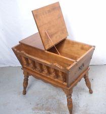 Vintage Ethan Allen Maple Birch Magazine End Table Storage Or Sewing Cabinet FurnitureMagazine