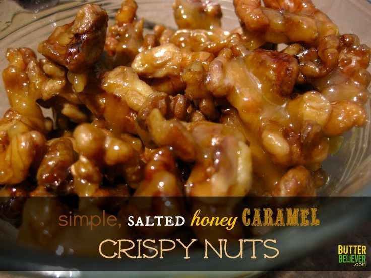 Salted caramel nuts! Plus bonus recipe for homemade caramel made with just butter and honey. Quick and easy!