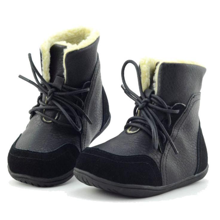 2016 Nueva Marca de Piel Real De Cabra Bebé Invierno Nieve botas de Los Niños Niñas Botas de Felpa Zapatos de Los Niños Zapatillas de deporte de Cuero Genuino Lace up en Botas de La madre y Los Niños en AliExpress.com   Alibaba Group