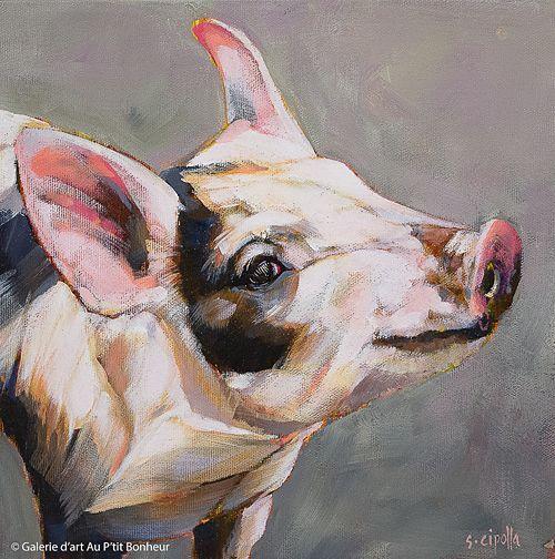 Susie Cipolla, 'Ham', 10'' x 10'' | Galerie d'art - Au P'tit Bonheur - Art Gallery