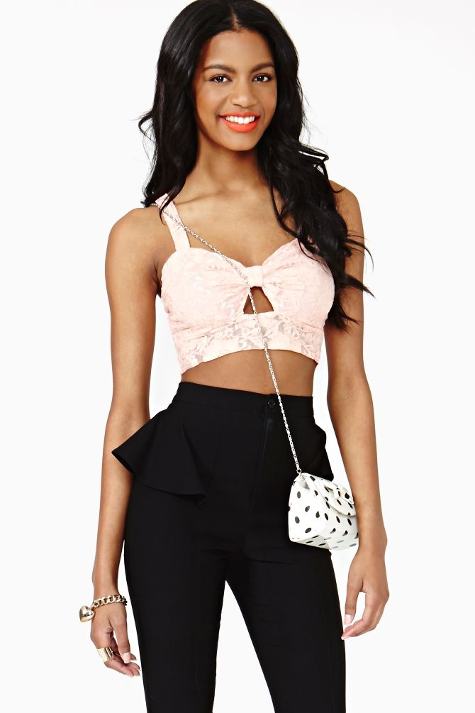 Laced Bow Crop Top in Peach
