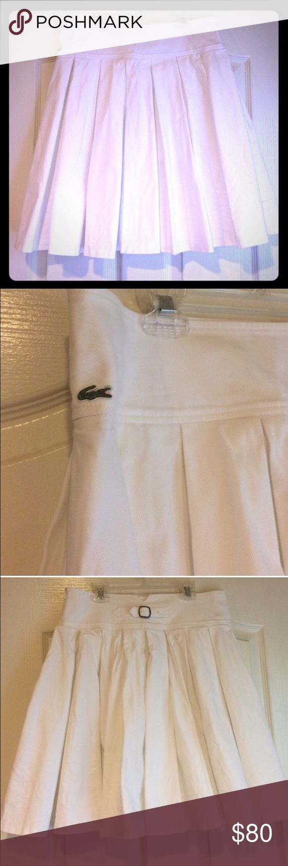 Lacoste White Pleated Skirt Pretty skirt - purchased here size 44 Lacoste Skirts Circle & Skater