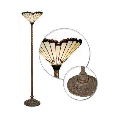 Warehouse of Tiffany 1483+BB75B Tiffany Style White Jewel Torchiere Floor Lamp, Bronze