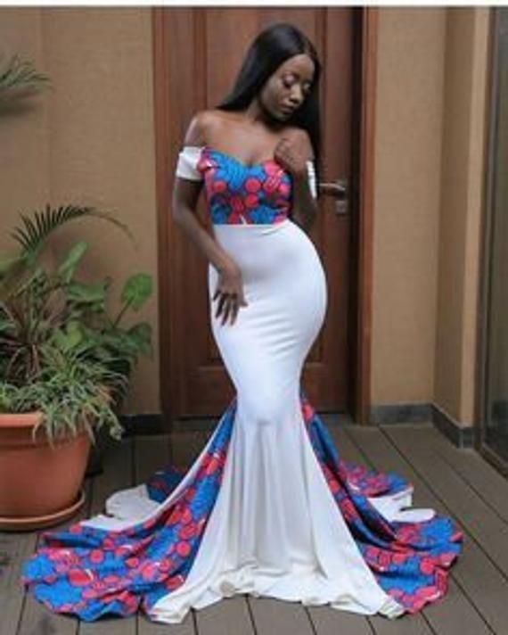 African Cape Dress African Prom Dress African Wedding Dress