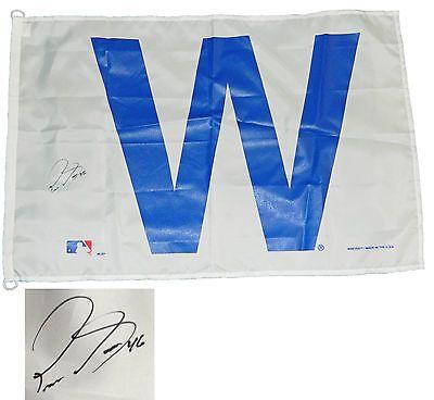 PEDRO STROP Signed Chicago CUBS 24x36 White W Flag - SCHWARTZ