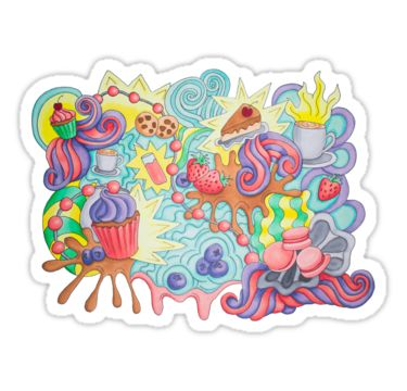 Sweet doodle. Berries cupcakes and funny swirls.  by Maria-So