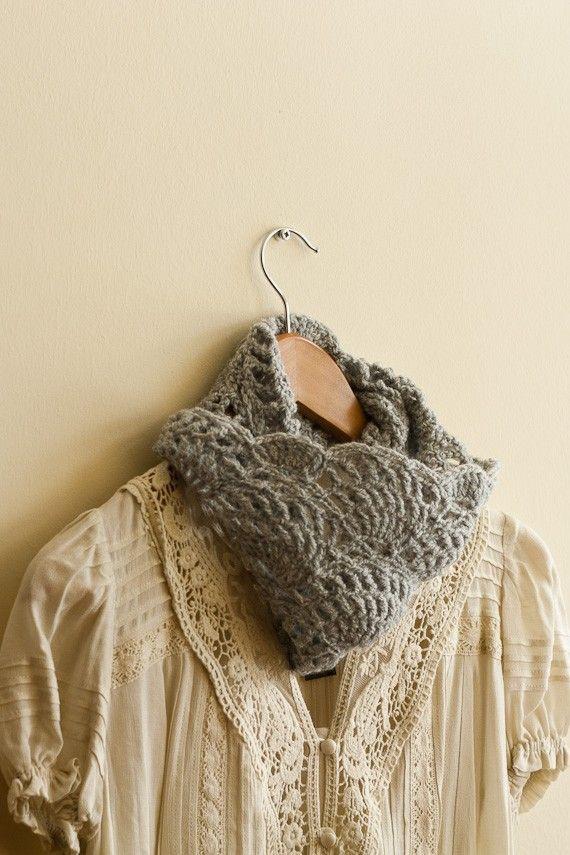 CROCHET PATTERN instant download - Dream Away Cowl - gray feminine lace infinity neck warmer tutorial PDF