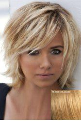 Real Human Hair Graceful Fluffy Natural Wavy Side Bang Short Capless Daily Wig For Women in Blonde   Sammydress.com Mobile