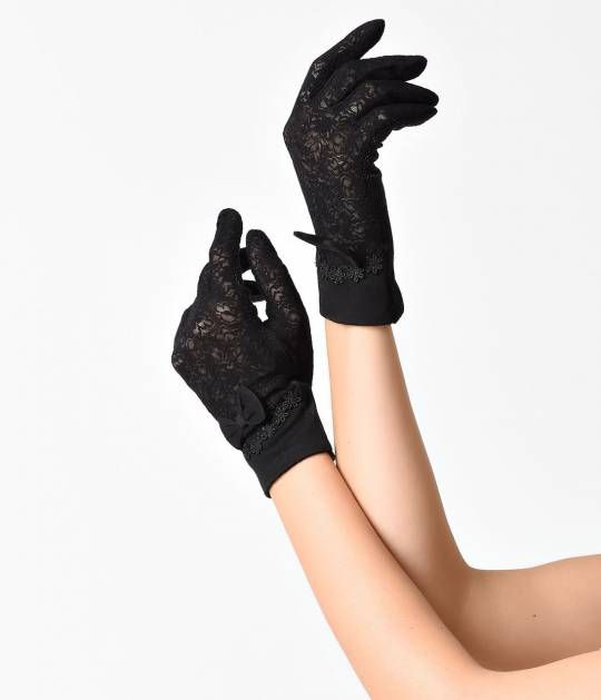 Unique Vintage Black Lace & Fabric Bow Wrist Gloves