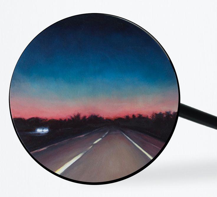 """Ocean Parkway (Long Island)"" 2017, Oil on panel, BMW mirror housing 4.25 in diameter / 11 cm diameter 5 x 13.5 x 2 in / 12.7 x 34.3 x 5.1 including motorcycle mirror housing. Courtesy of Lyons Wier Gallery, New York"