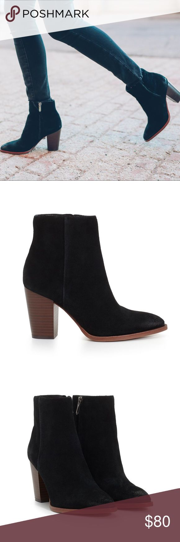 New Sam Edelman Black Suede Blake Booties So cute and perfectly on trend! Blogger favorite, as seen on Emily Gemma. Black suede. Interior zip. Stacked wooden heel. Size 7.5. No trades!! 042517150nrt Sam Edelman Shoes Ankle Boots & Booties