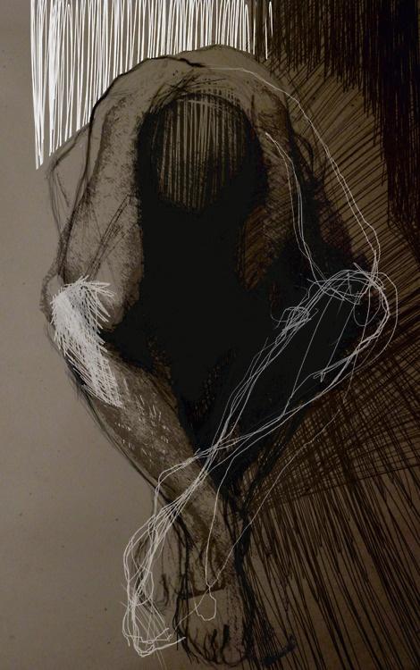 Justyna Mikusz - Drawing 1m x 0,6m. Brown paper.