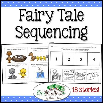 Fairy Tales Story Sequencing helps teach story comprehension, story recall, and sequencing skills. After reading these 18 popular fairy tales to children, use these cards or sheets during a Small Group Literacy time. Includes printable blackline cut-and-paste sheets for independent work.