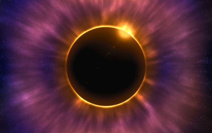 Download wallpapers galaxy, solar eclipse, stars, nebula